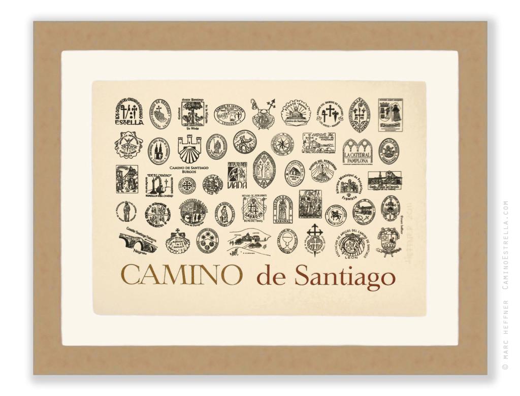 El Camino de Santiago - Sellos of the Camino de Santiago Print