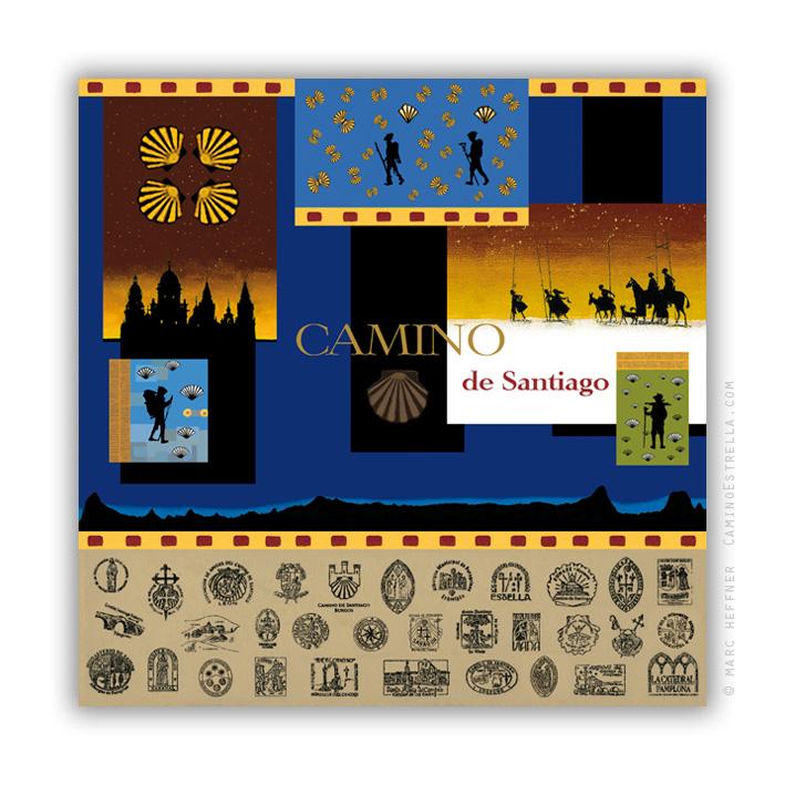 El Camino de Santiago Compostela pilgrimage print