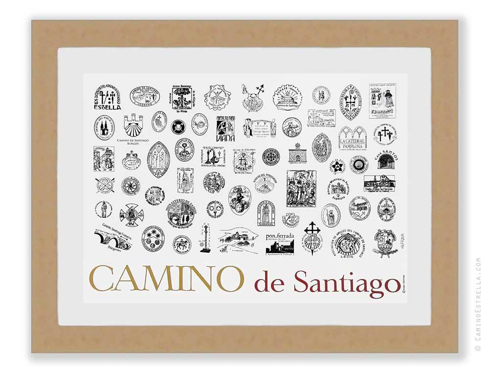 El Camino de Santiago Compostela pilgrimage sellos print